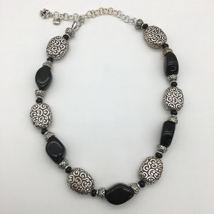 Brighton black & silver tone necklace 19""